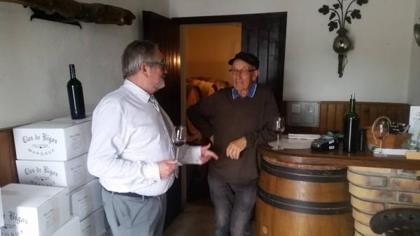 En dégustation avec M. Jarousseau, propriétaire du Clos Bigos, un cru artisan en Margaux