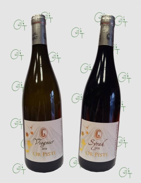 Les cuvées Or Piste en Viognier ou Syrah des vignobles Chirat chez votre caviste à Marseille
