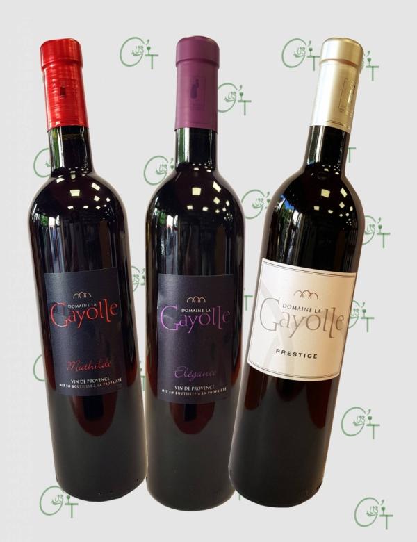 Les vins rouges du Domaine La Gayolle, Coteaux Varoix chez votre caviste à Marseille et La Destrousse
