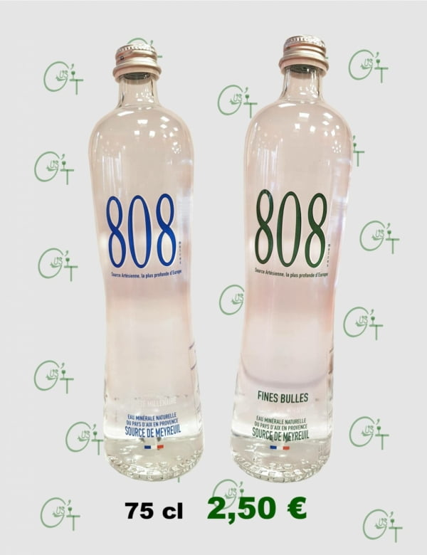 Eau minérale 808, l'eau du pays d'Aix absolument sans nitrate chez vos cavistes à Marseille, Aix en Provence et La Destrousse